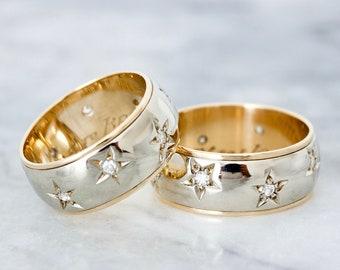 Vintage Diamond Starburst Wedding Band Set, Couple Rings, 14k White and Yellow Gold, Size 7.75 & 9.75, Dated 1955 Mid Century Wedding Rings