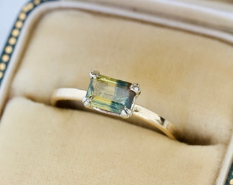 Dainty Stackable Bi Colored Fancy Sapphire Ring, Tiny Gemstone Stacking Ring, 14k Yellow Gold Size 5.5, Unique September Birthstone Jewelry