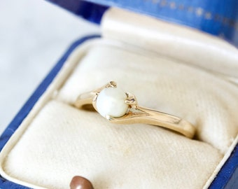 Dainty Cultured Pearl Solitaire Ring, Tiny Gemstone Stacking Ring, June Birthstone Jewelry, 10k Yellow Gold Size 7, Fine Estate Rings
