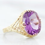 Vintage Amethyst Engagement Ring, Size 7.75, Floral Filigree Jewelry, 14k Yellow Gold, Art Deco Purple Gemstone Rings for Women