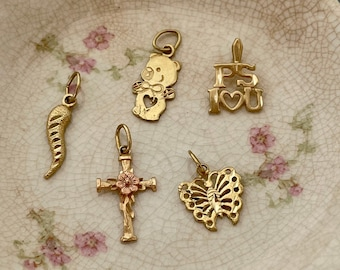 PICK ONE Teeny Vintage 1980s Gold Charms for Necklace, 14k Yellow Gold, Tiny Cross, Chubby Little Bear, PS I Love You, Cornicello, Butterfly