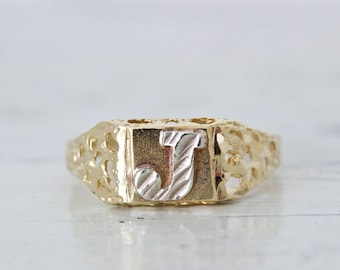 Vintage Letter J Ring | Initial Ring | Monogrammed Ring | Quirky Ring | Midi Ring | Personalized Pinky Ring | 10k Yellow Gold Ring | Size 4