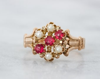 Antique Victorian Ring, 14k Rose Gold Cluster Ring, Seed Pearl & Ruby Gemstone Jewelry, Unique Promise Rings, Dainty Pinky Ring, Size 4.25