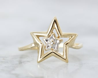 Vintage Diamond Star Ring, Celestial Jewelry, Geometric 10k Yellow Gold Statement Ring, Unique Starburst Ring Gift for Her Sizable Size 7.75