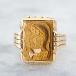 RESERVED Carved Tiger Eye Ring, Unique Cameo, Art Deco Jewelry, 1930s Antique Statement Rings, 10k Yellow Gold, Size 8.75, Vintage Ring