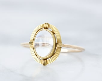 Antique Moonstone Ring, 1900s Bezel Set White Gemstone, 14k Yellow Gold Minimal Ring, Unique Oval Solitaire Ring, Arts and Crafts, Size 7.75
