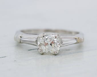Simple Engagement Ring | Platinum Diamond Ring | Antique Cushion Cut Diamond | Mid Century Ring | Tapered Baguette Diamond | Size 6.25