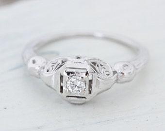 Art Deco Engagement Ring | Antique Diamond Ring | 14k White Gold Wedding Ring | Flower Blossom Ring | Filigree Promise Ring | Size 6