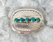 Vintage Sterling Silver Belt Buckle, Native American Design, Sea Foam Green Turquoise, Fathers Day Gifts for Him, Unisex Southwestern