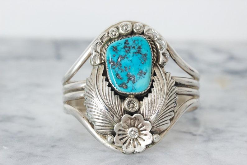 Vintage Wide Sterling Silver Cuff Bracelet Large Blue image 0