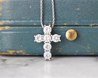 Dainty Diamond Cross Necklace Pendant, 14k White Gold, 0.90 Carats TW Genuine Diamonds, Simple Religious Jewelry for Her