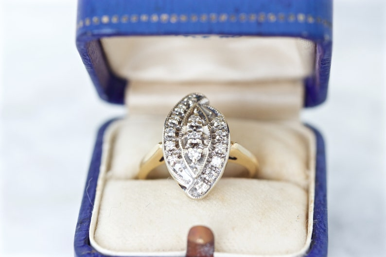 Vintage Diamond Cluster Ring 14k Yellow Gold Mixed Metals image 0