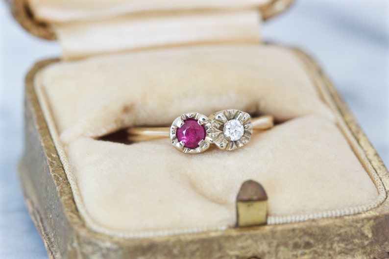 Vintage Moi Et Toi Engagement Ring Genuine Ruby and Diamond image 0