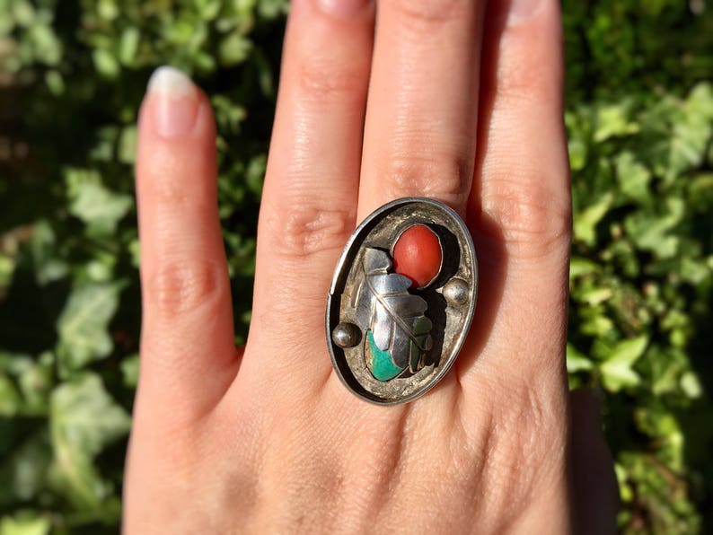 Vintage Silver Boho Ring Nature Inspired Turquoise and Coral image 0