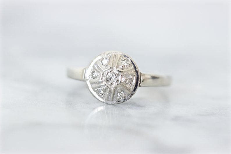 Dainty Diamond Engagement Ring Vintage Promise Ring Minimal image 0