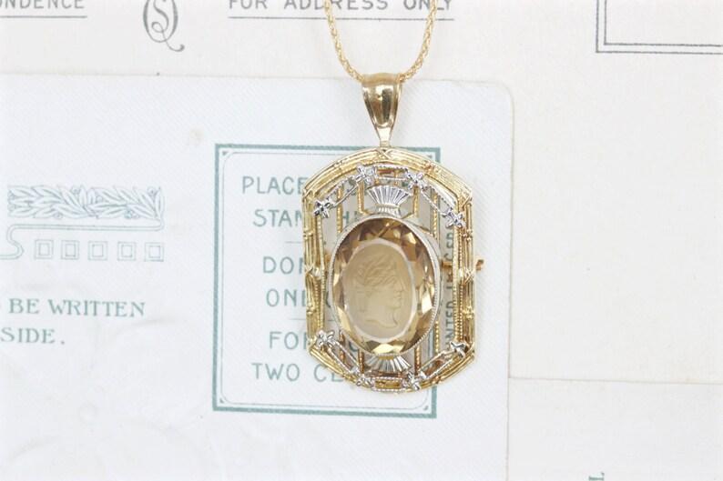 Art Deco Necklace  Antique Citrine Necklace  Intaglio image 0