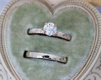 Bespoke Hammered Wedding Set, Vintage European Cut Diamond Engagement Ring, Hand Forged 14k White and Rose Gold Size 7, Claw Prong Setting