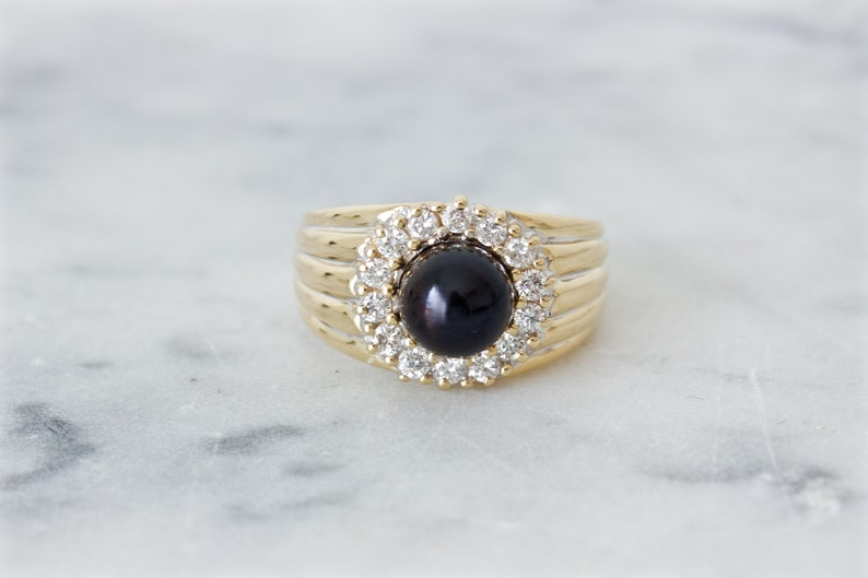Vintage Black Pearl and Diamond Halo Ring 14k Yellow Gold image 0