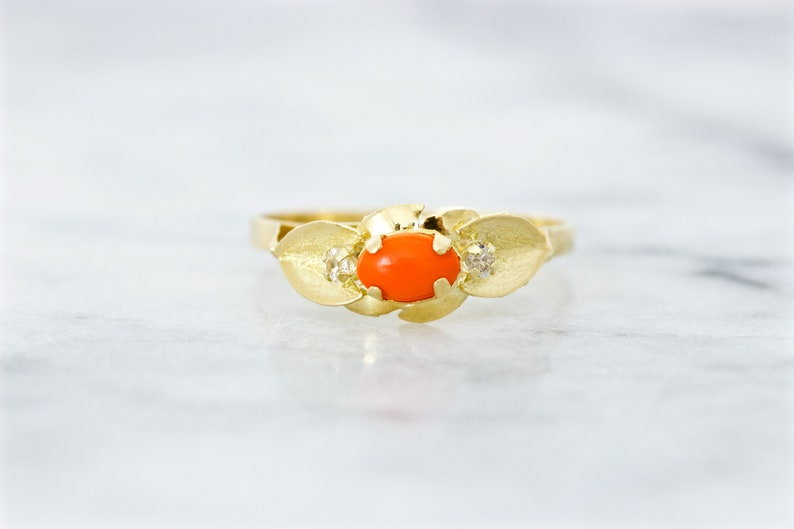 Unique Coral Ring 18k Yellow Gold Gemstone Cocktail Rings image 0
