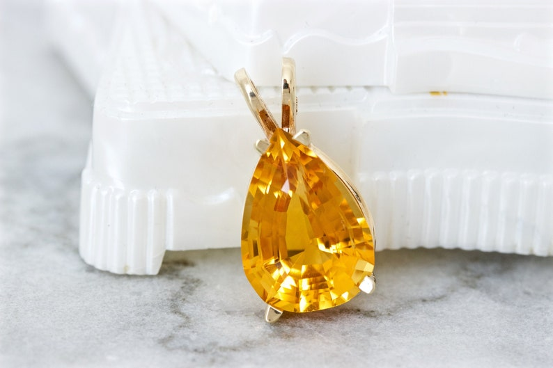 Vintage Pear Citrine Pendant 14k Yellow Gold Gemstone image 0