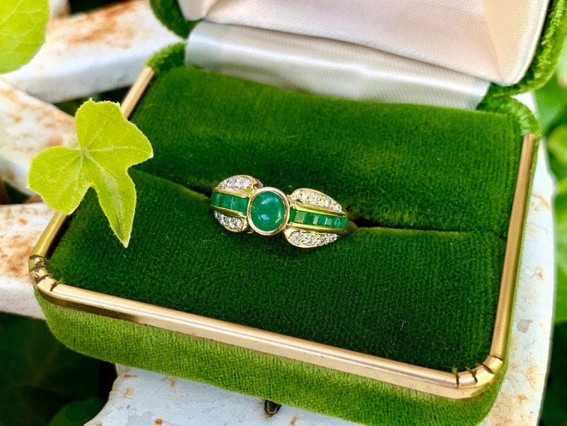 Vintage Emerald Engagement Ring 18k Yellow Gold Unique image 0