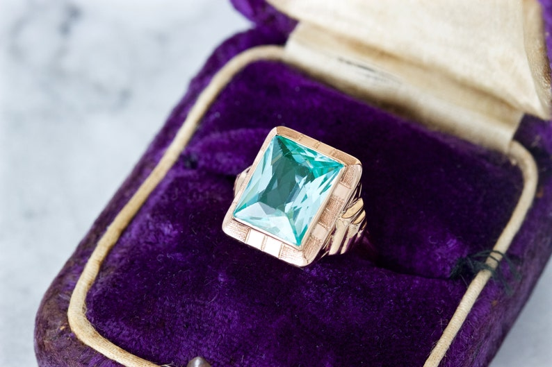 Antique Aqua Blue Ring Art Deco 1930s Cocktail Ring Dainty image 0