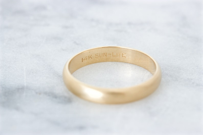 Stacking Rings Size 6.5 Unique Jewelry Matte Gold Ring 3.5 MM Wide Gold Band 14k Yellow Gold Wedding Ring Vintage Brushed Wedding Band