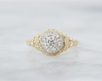 Vintage Cluster Engagement Ring | Antique Diamond Rings | Flower Blossom Dainty Filigree Ring | 14k Yellow Gold Promise Ring | Size 6.25