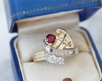 1940s Retro Ruby and Diamond Ring, 10k Yellow Gold Ring Size 6.25, Unique Mixed Metal Rings, Flower Blossom Motif, April July Birthstone