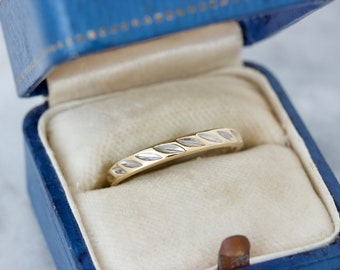 Dainty Vintage Wedding Band, Stackable Gold Rings Size 6.25, 10k Yellow Gold & White Gold Accents, Half Hoop Eternity Design, Simple Jewelry
