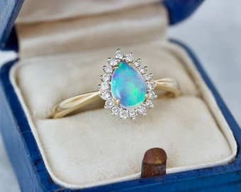 Vintage Pear Cut Opal and Diamond Halo Ring, 14k Yellow Gold Size 10.5, October and April Birthstone Jewelry, Blue and Green Gemstone Rings