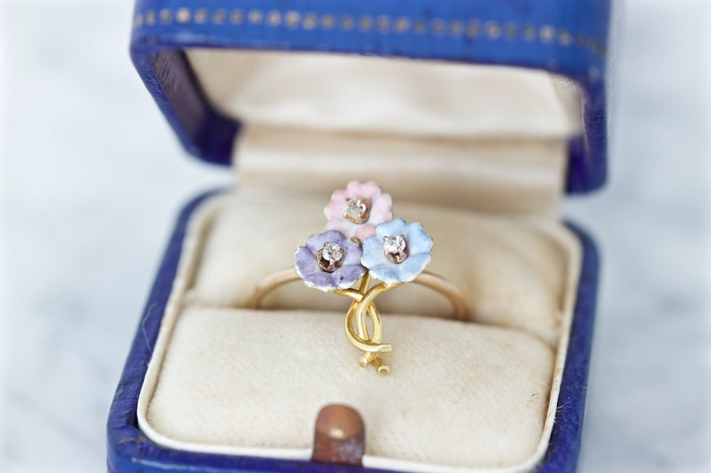 Dainty Antique Flower Ring Vintage Stick Pin Conversion image 0