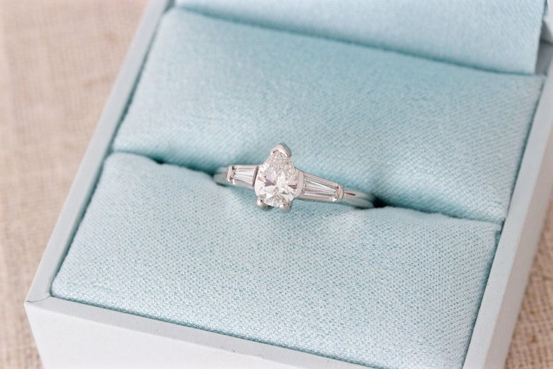 Vintage Pear Engagement Ring 0.99 CTTW Pear Cut Diamond image 0