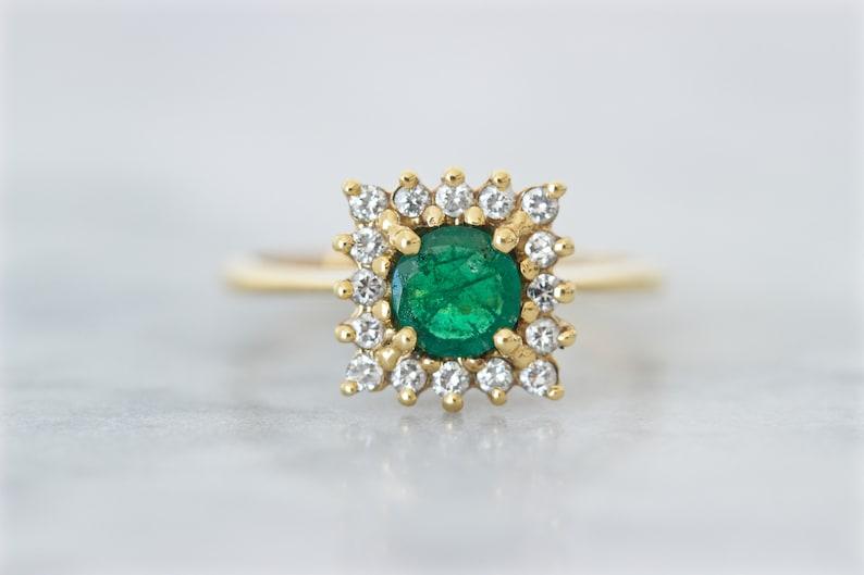 Vintage Emerald Engagement Ring Square Diamond Halo 18k image 0