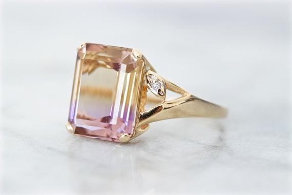 Bold Emerald Cut Ametrine Cocktail Ring, 14k Yello