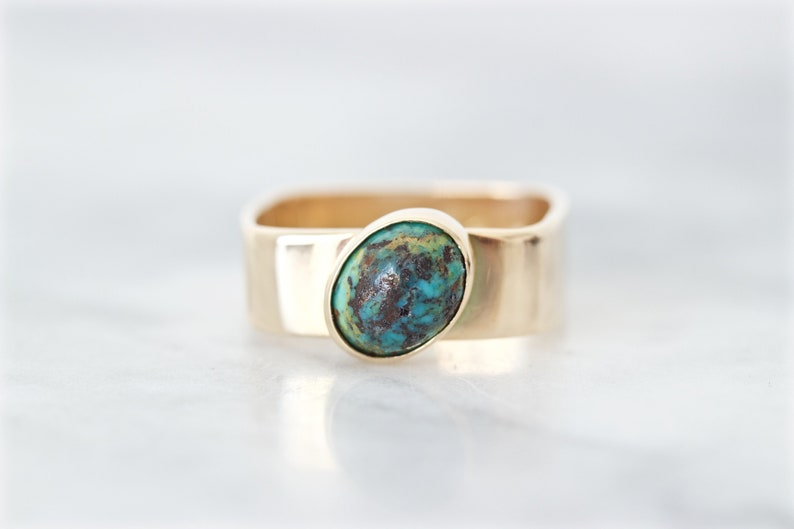Unique Turquoise Ring December Birthstone 14k Yellow Gold image 0