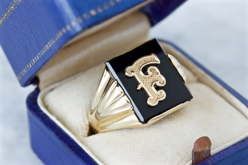 1930s Art Deco Signet Ring F Initial Ring 10k Yellow Gold image 0