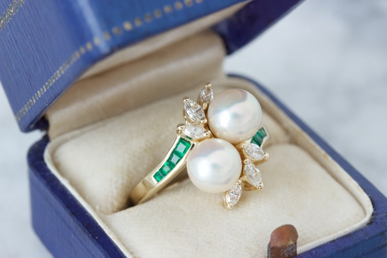 Vintage Double Pearl and Diamond Halo Ring 14k Yellow Gold image 0