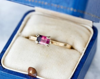 Unique Pink & Purple Natural Sapphire, Handcrafted Bi-Colored Sapphire Stacking Ring, 14k Yellow Gold Size 7.25 Unusual September Birthstone