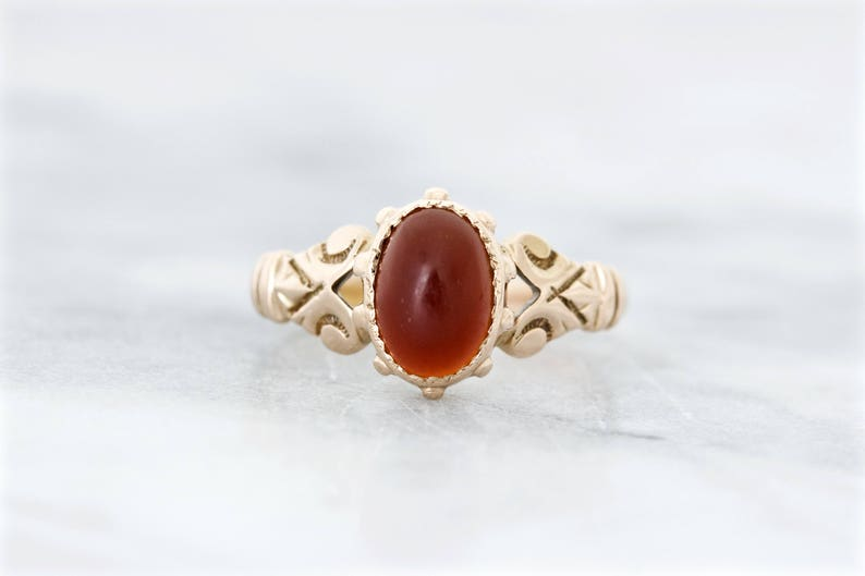 Antique Carnelian Ring 1800s Victorian Engagement Ring Size image 0