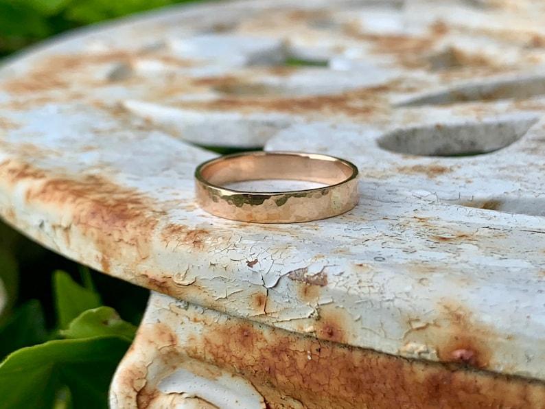 Handforged Rose Gold Wedding Band Hammered Gold Ring Solid image 0