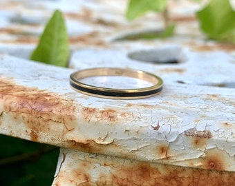 Unique Eternity Band, Vintage Black Enamel Stacking Ring, 14k Yellow Gold Size 9.75, 1970s Jewelry, Victorian Inspired Mourning Ring