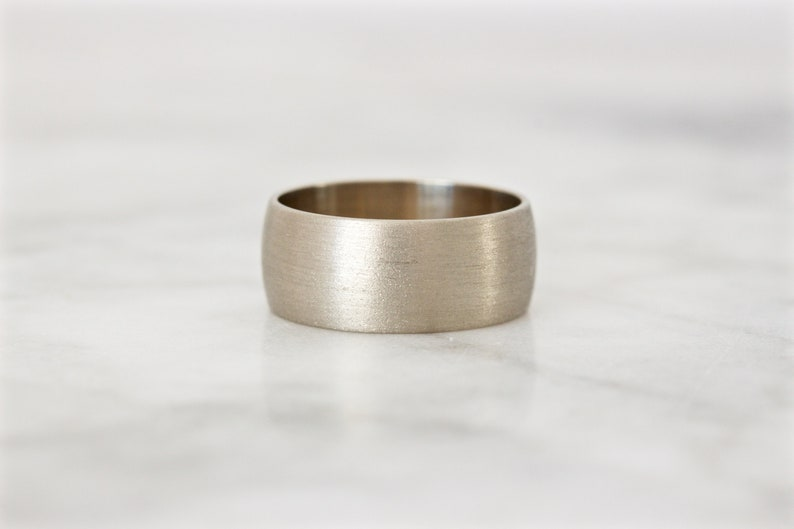 Matte Gold Band Brushed Wedding Ring Unique Gold Ring 7 MM image 0