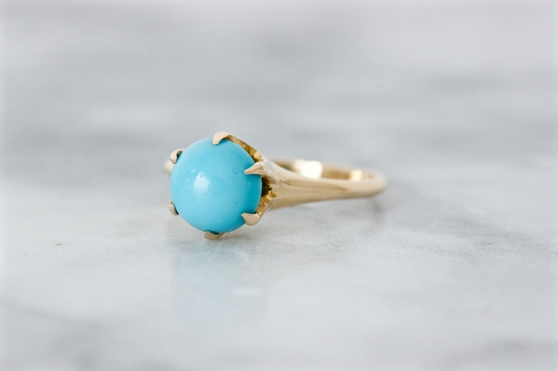 Vintage Engagement Ring Simple Art Deco Turquoise Solitaire image 0