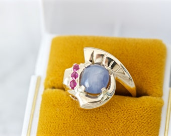 ON SALE 1940s Natural Star Sapphire Ring, 14k Yellow Gold Size 6.75, Smoky Blue Grey Gemstone, Vintage Mid Century Cocktail Rings