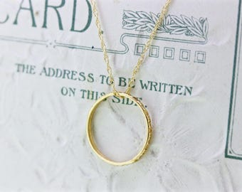 Baby Ring Necklace | Antique Charm Necklace | Gifts for Her | 10k Yellow Gold Open Circle Necklace | Boho Necklace | Minimal Necklace