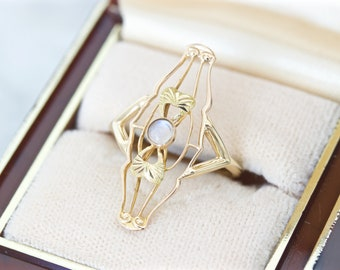 Delicate Art Nouveau Moonstone Ring, Lacy Floral Inspired Antique 10k Rosy Yellow Gold Ring Size 6, Unique 1910s June Birthstone Rings