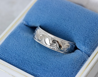 Vintage Scrolling Script Eternity Band, 10k White Gold Size 7.5 Wide Gold Wedding Ring, Stackable Middle Finger Rings, Free Form Floral