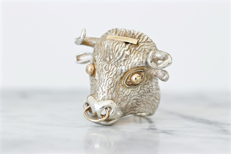 Vintage Bull Ring Unique Mens Ring Bold Statement Rings image 0