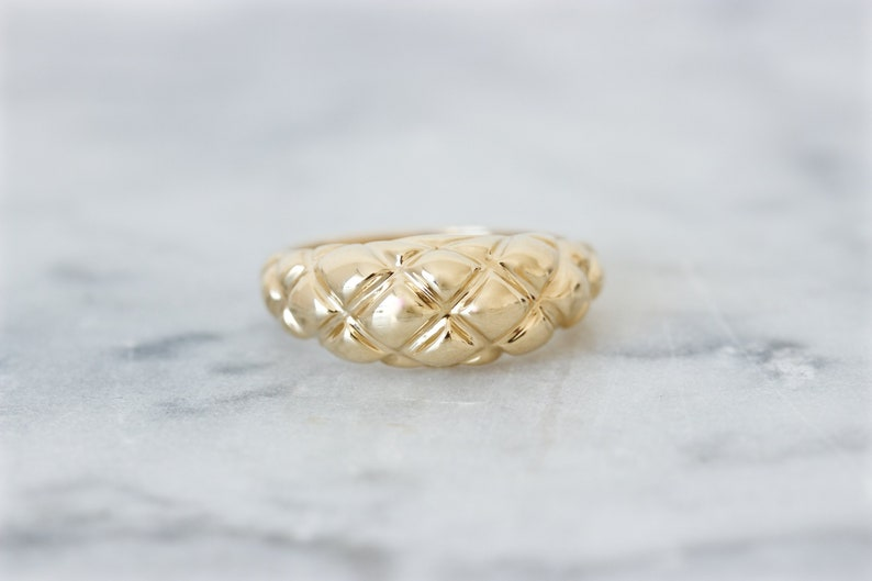 Unique Gold Ring Dome Ring 14k Yellow Gold Rings Size 5.75 image 0